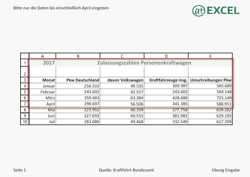 Excel 01 - Eingabeübung