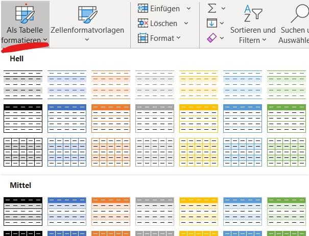 Über die Tastenkombination STRG + T oder den Schalter START - Als Tabelle formatieren kann ein Bereich als Tabelle formatiert werden.